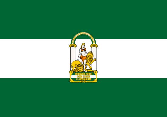 bandera andalucia con escudo banderas y publicidad garsan